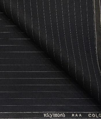 Raymond Black Polyester Viscose White Pin Stripes Unstitched Suiting Fabric