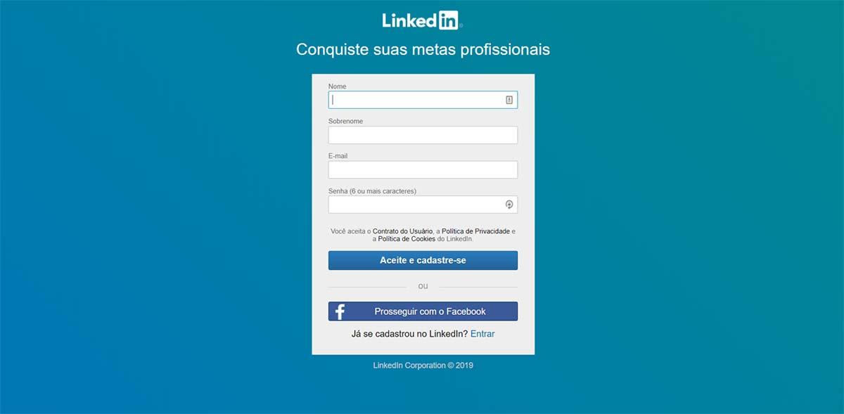 Página de cadastro na rede social corporativa LinkedIn
