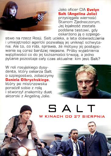 Tył ulotki filmu 'Salt'