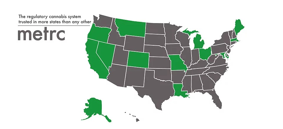 map showing US states that use Metrc for traceability solutions highlighted in green
