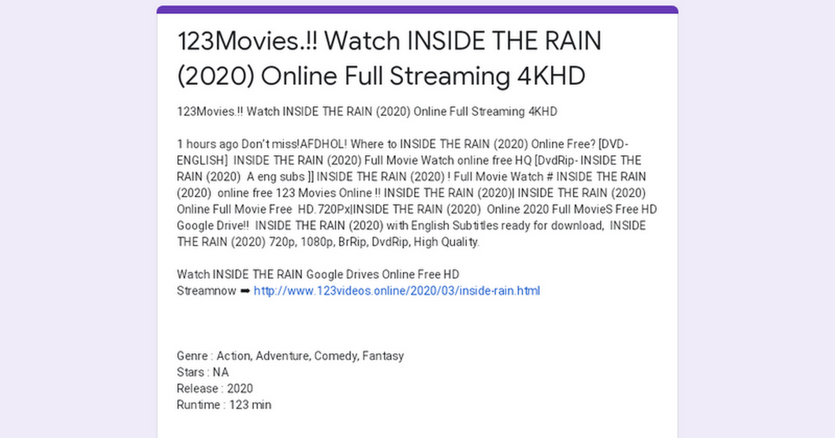 123Movies.!! Watch INSIDE THE RAIN (2020) Online Full Streaming 4KHD