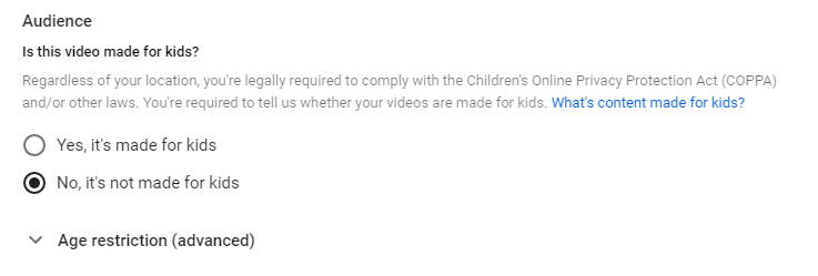 Age restriction for youtube videos screenshot