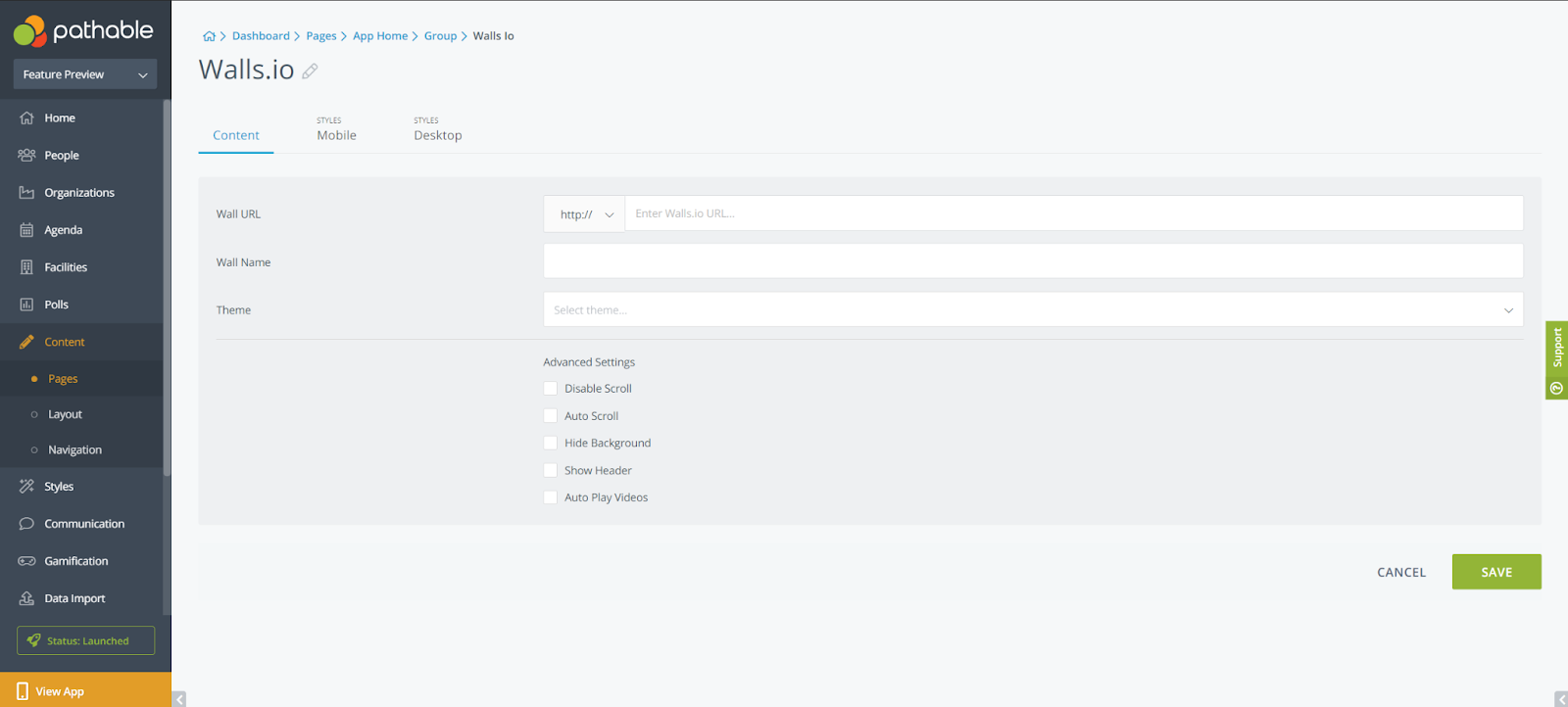 Image showing the backend of Walls.io widget on Pathable's virtual event platform.