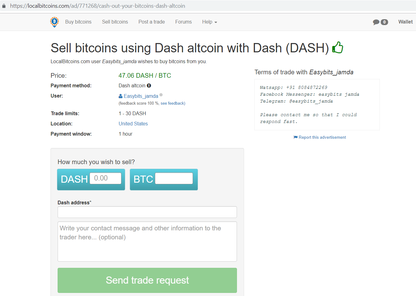 Localbitcoins.com Sell bitcoins using Dash altcoin with Dash (DASH) screen.