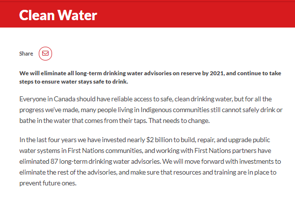 Image from the Canadian Liberal Party's clean water elimination promise.