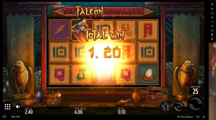 Play The Falcon Huntress slot game at Happyluke.com