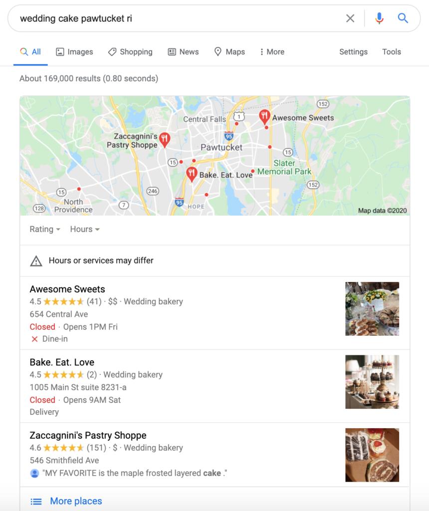 Chiến lược tiếp thị dành cho doanh nghiệp nhỏ - Danh sách Google Doanh nghiệp của tôi của bạn cung cấp thông tin hiển thị trên Google 3-pack.