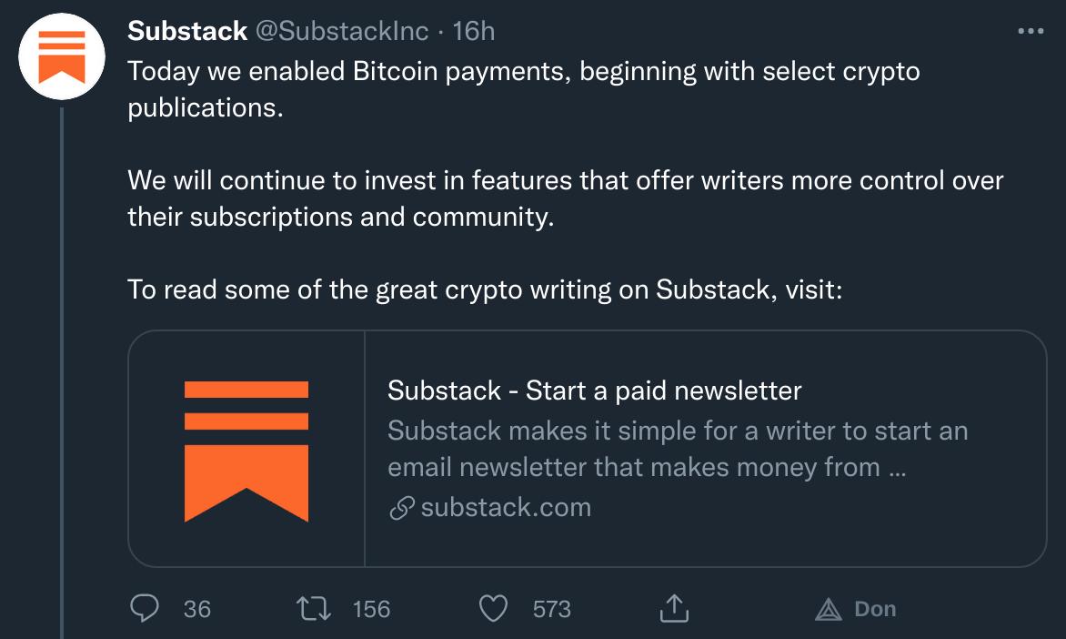 Publication Twitter de Substack qui accepte Bitcoin (BTC) comme moyen de paiement pour ses abonnements