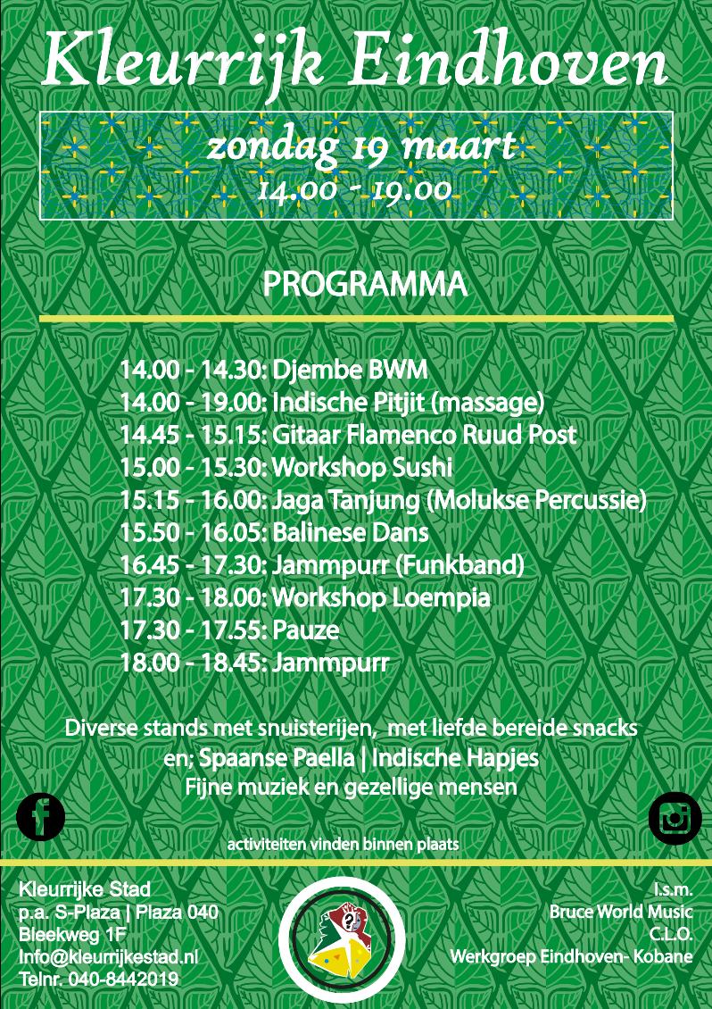 Programma Kleurrijk Eindhoven 19 maart