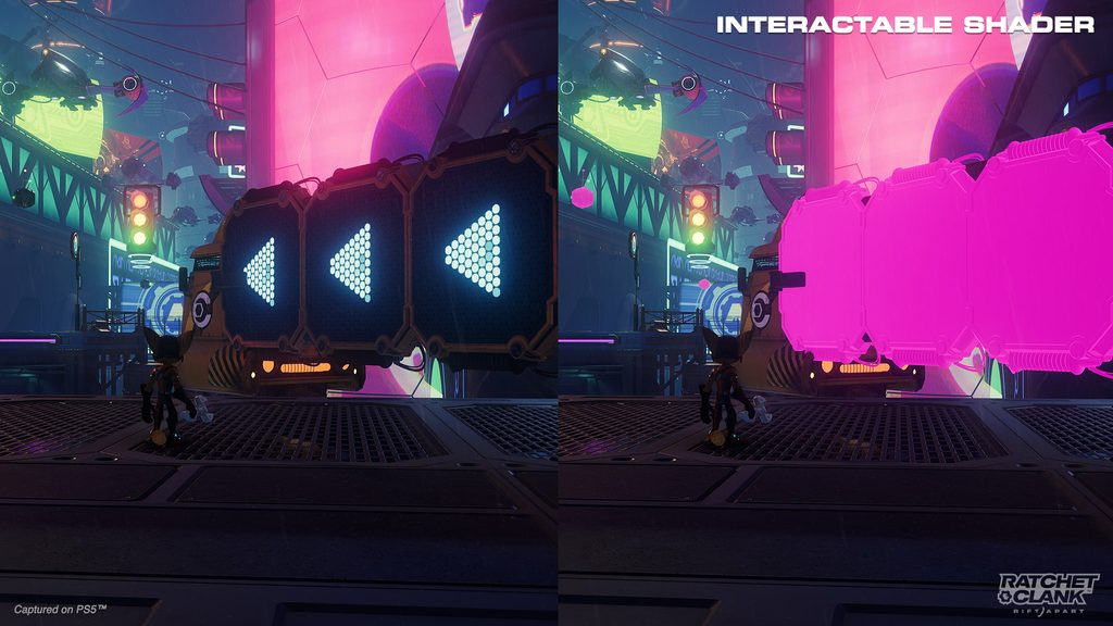 Side-by-side screenshots of Ratchet in Nefarious City lit by neon lights and signs. He is standing in front of a traversal section that includes a wall run and Versa swing target. The left side is in full color. The right has the Interactable Shader on, making the wall run and Versa swing target shaded magenta.
