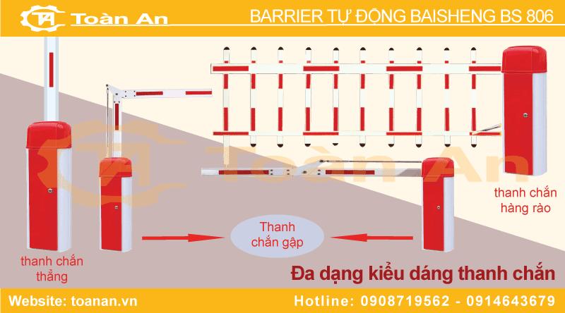 Đa dạng kiểu thanh chắn để lựa chọn khi sử dụng rào chắn barier bs 806.