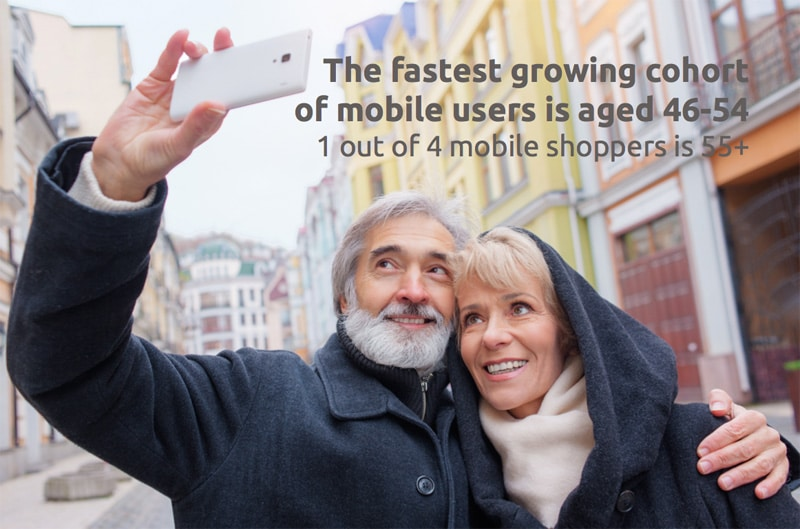 mobile use is increasing among 46+ year olds