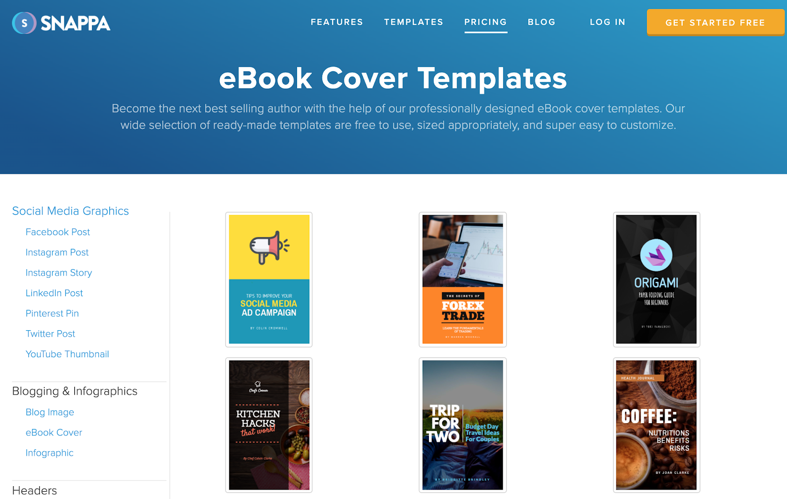 Snappa – free ebook cover templates you can use in your own projects.