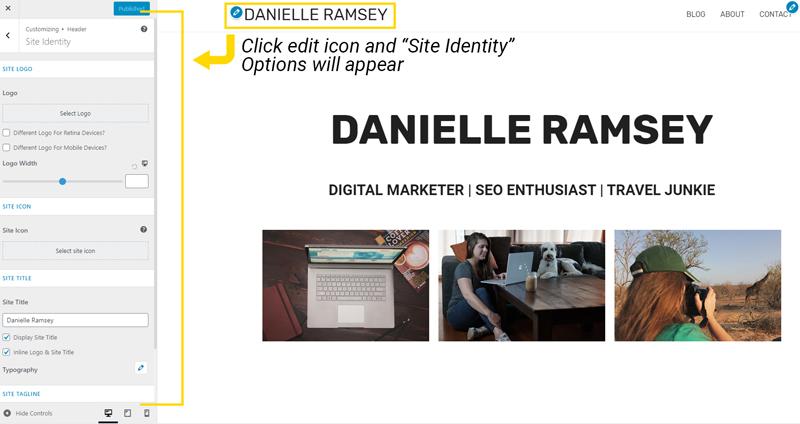 Editing Site Identity in WordPress