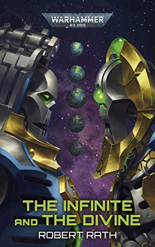 Image contains purple background with several images of earth in a vertical line in the center of the image. In the foreground of the image, a silver robot and a gold robot stare down one another. They take up the left and right side of the image. At the bottom of the image reads: The Infinite and the Divine Robert Rath.