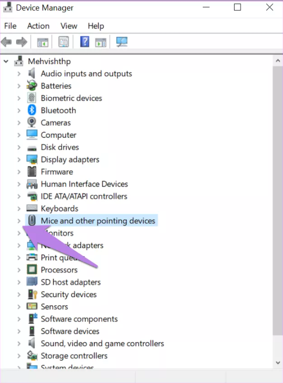 device manager mouse settings