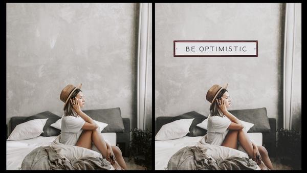 antes e depois da foto de um mulher quarto sendo que uma das fotos tem um quadro no quarto