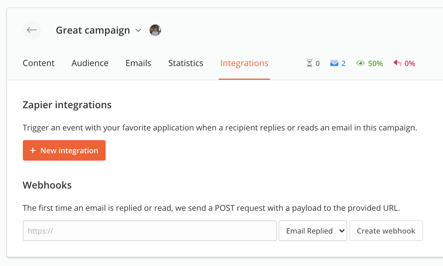 Integrations tab in a campaign