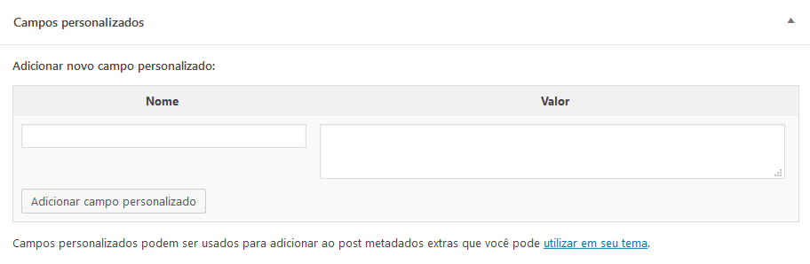 Interface de adição dos campos customizados