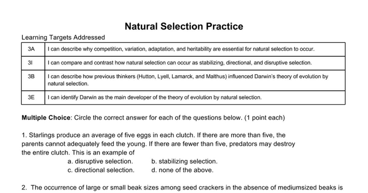 Natural Selection Practice - Google Docs