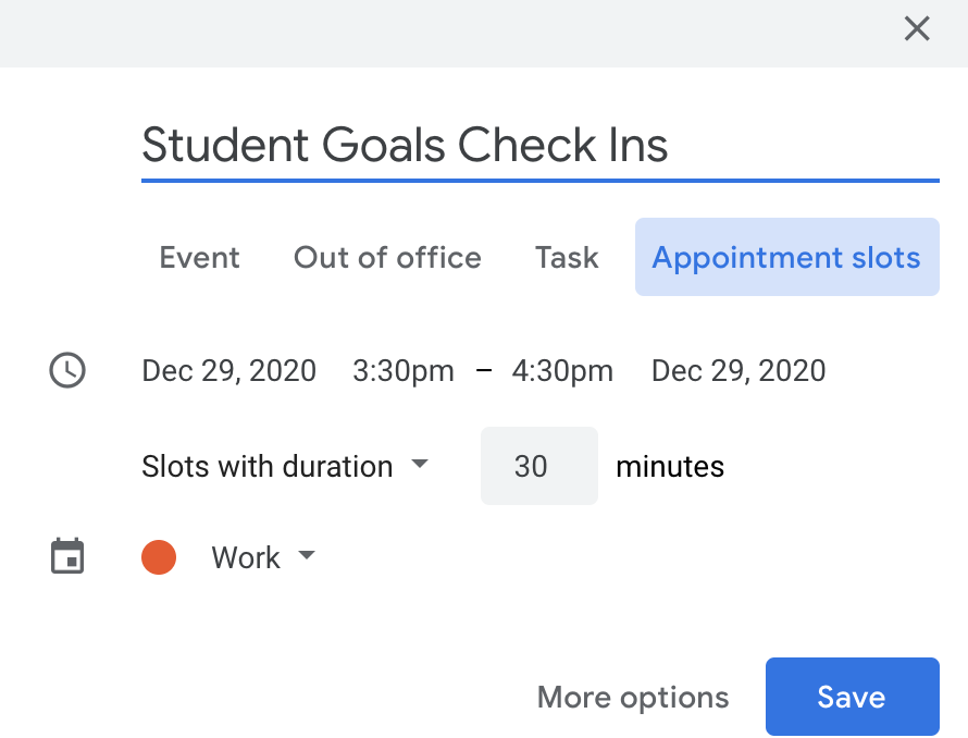 Screenshot of Google Calendar appointment slot set up.