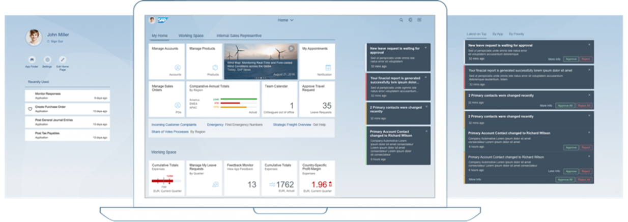Example of the SAP Fiori Launchpad