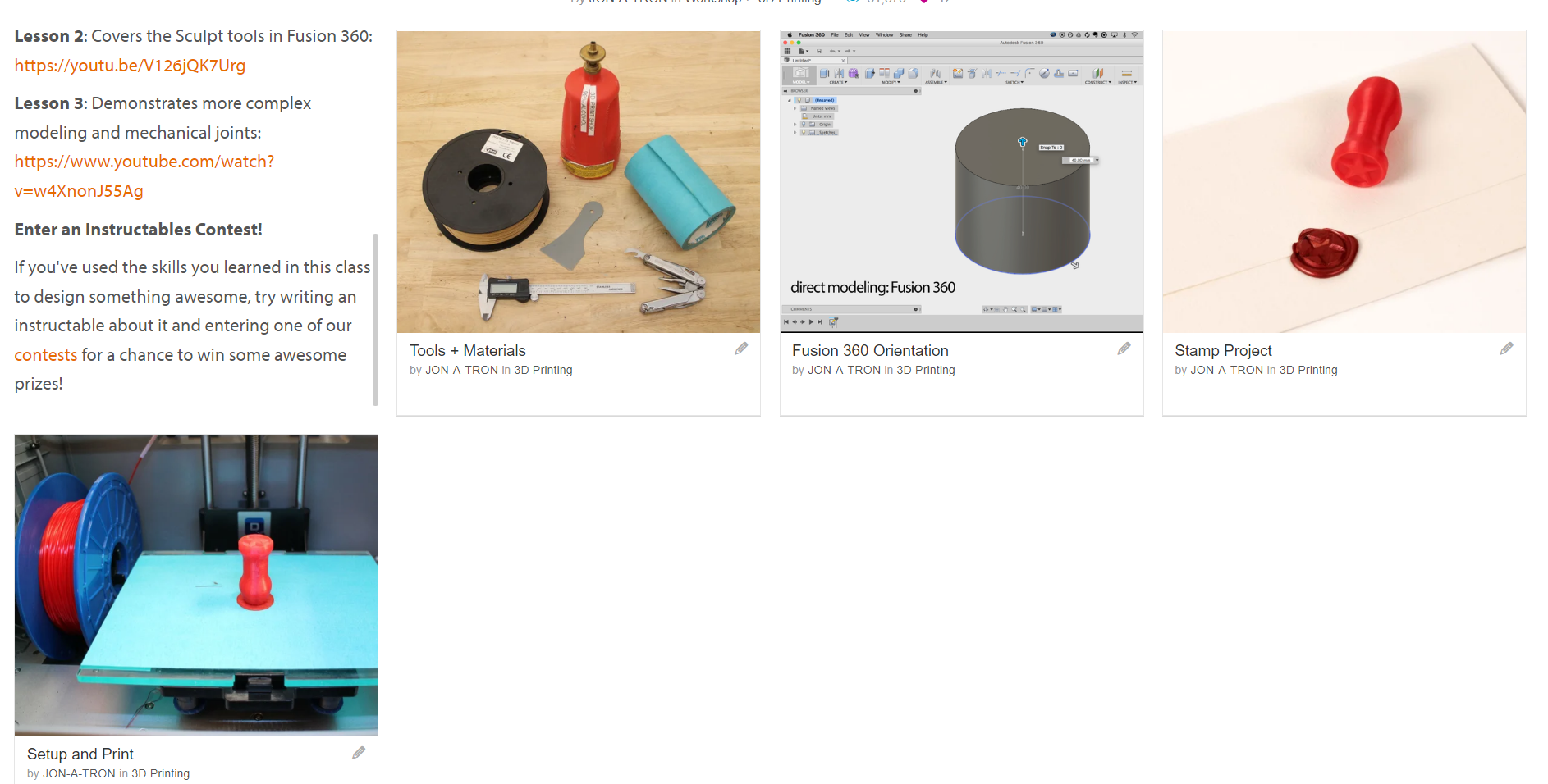 online tutorials for CAD and 3D printing