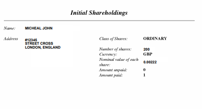 initial shareholding UK company