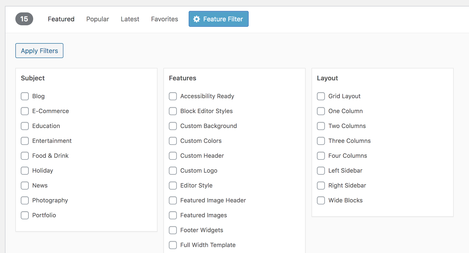 Wordpress Themes filter