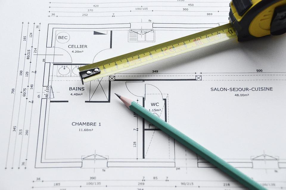紙, スケール, ブルー, 建築家, 計画, 作業