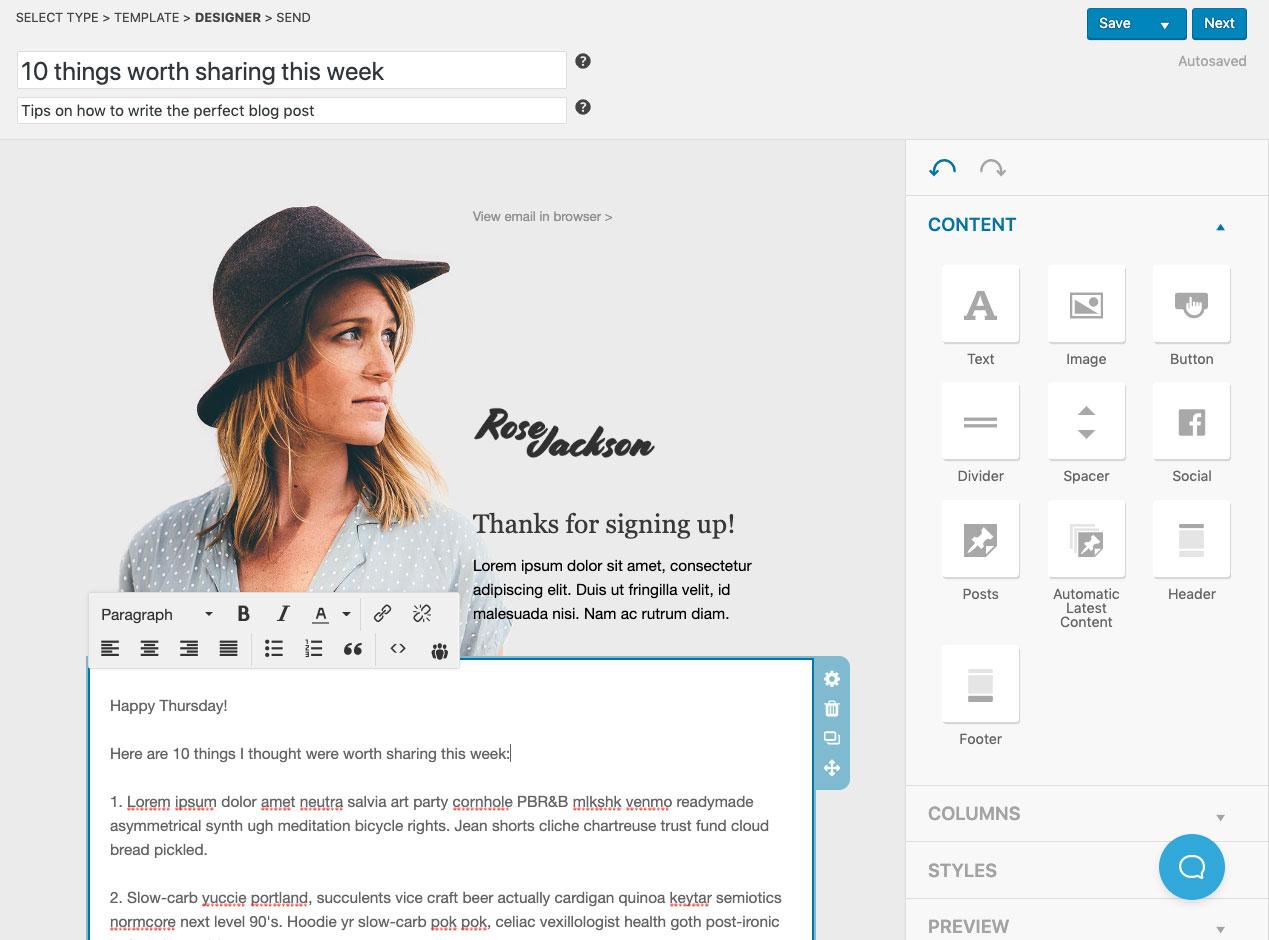 The MailPoet email designer interface.