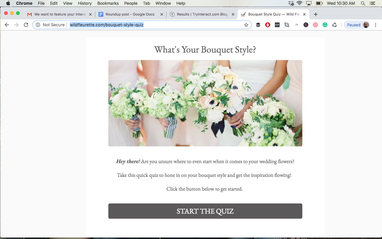 screenshot of What's your bouquet style quiz cover