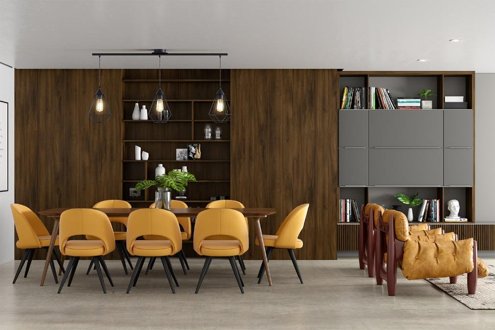 Sala de jantar integrada a sala de estar com mesa de madeira com 8 cadeiras amarelas, piso cinza, móvel planejado amadeirado escuro com detalhes cinza, poltrona de madeira com estofado amarelo.