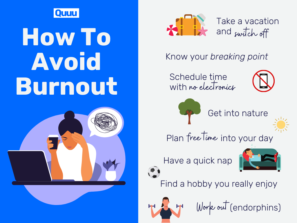 An example of one of the common habits of successful people - avoiding burnout.Take a vacationKnow your breaking pointSchedule time with no electronicsGet into naturePlan 'free time' into your dayHave a quick napFind a hobby you really enjoyWork out