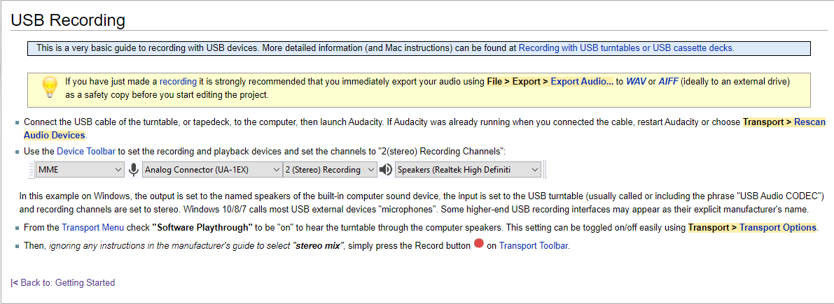 screenshot of USB recording instructions from Audacity