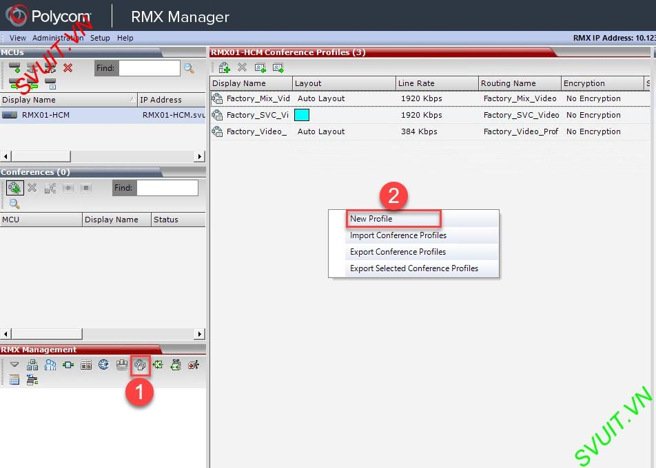 Create profiles on MCU Polycom RMX (1)