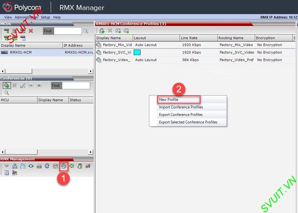 Create profiles on MCU Polycom RMX (1)