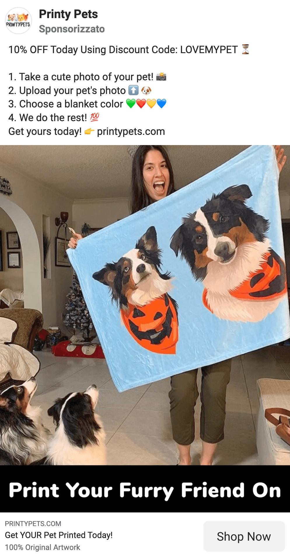 Facebook single image ads pets brand