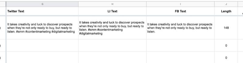 ejemplo de hoja de Google con datos parciales completados en el texto de Twitter, texto de LinkedIn, celdas de texto de Facebook