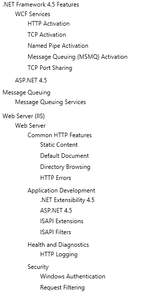IIS Web Configuration Summary