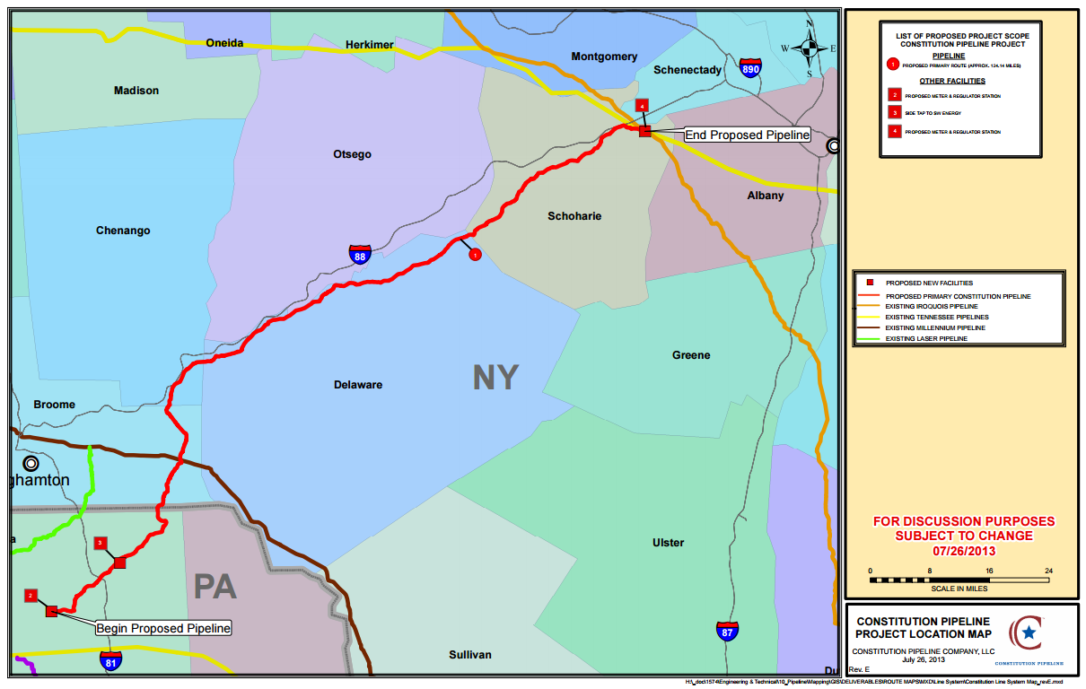 Map of the proposed Constitution Pipeline, from the Constitution Pipeline company