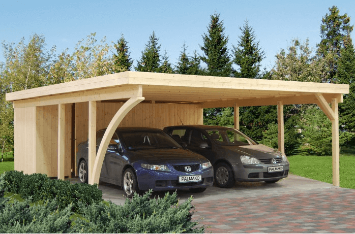 Double carport with two parked cars