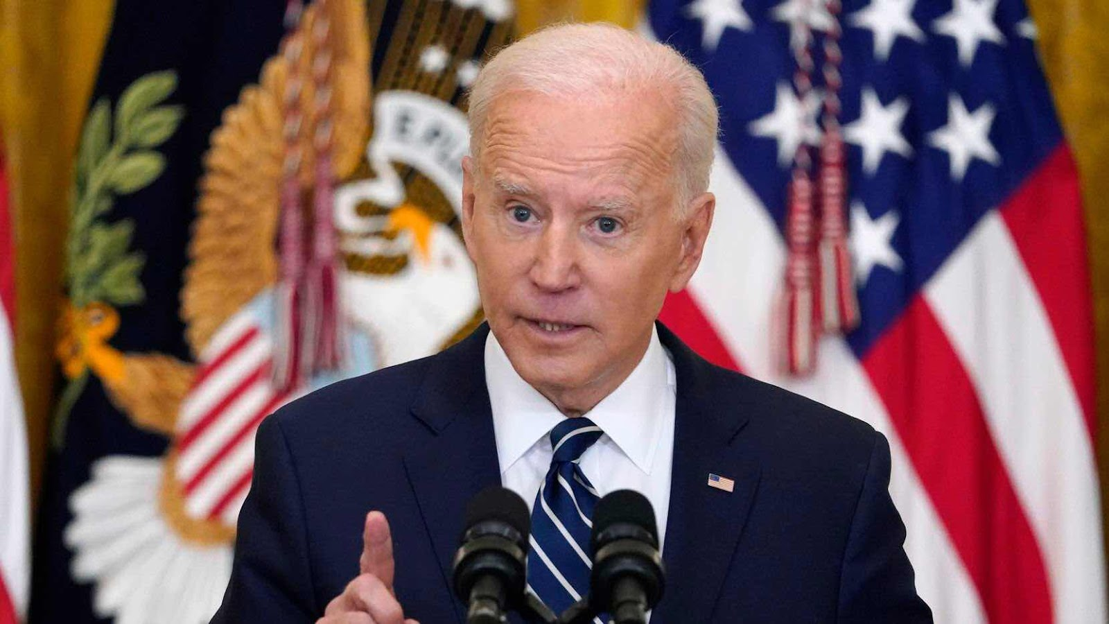 President Joe Biden speaks during a news conference in the East Room of the White House on March 25, 2021.(Evan Vucci)