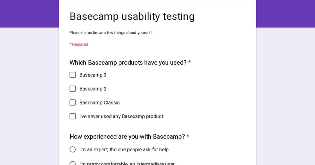 Basecamp usability testing