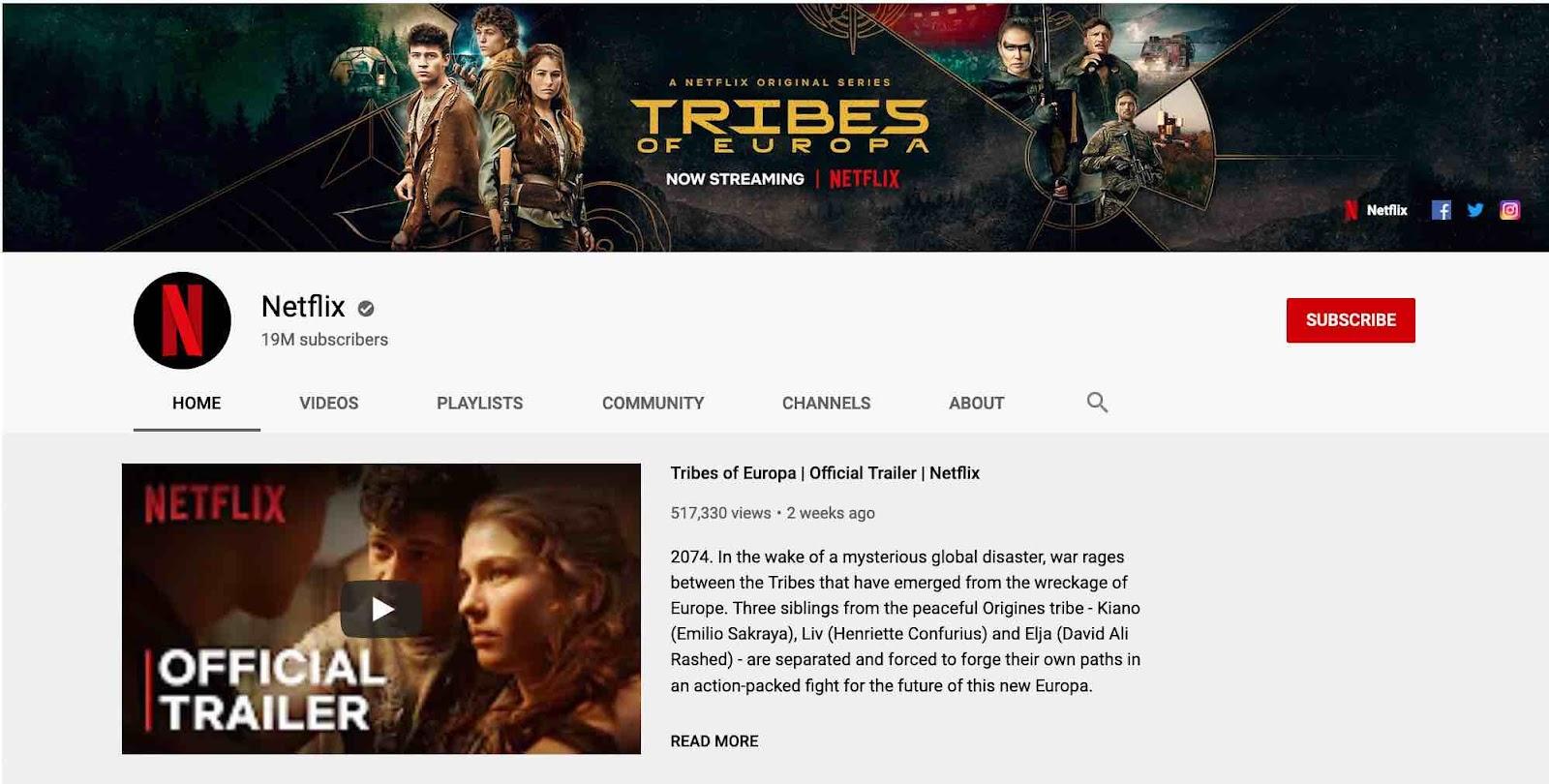 Netflix's YouTube channel layout