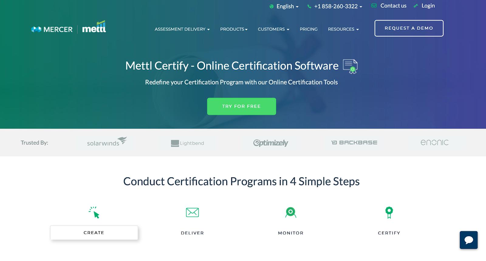 Mettl Certify screen