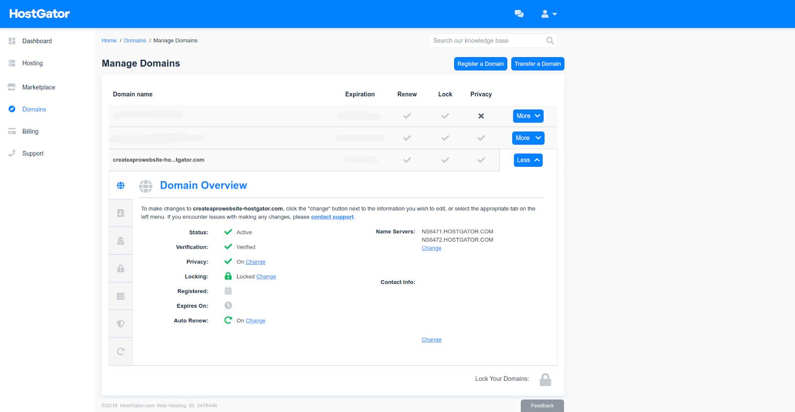 hostgator domain hosting portal