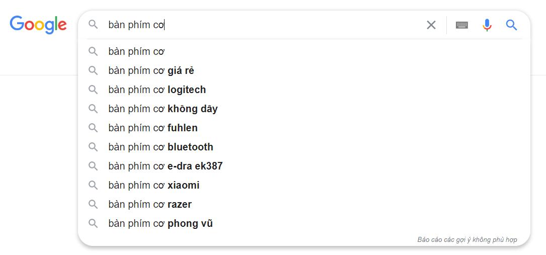 kế hoạch marketing online mẫu: gợi ý tìm kiếm của google