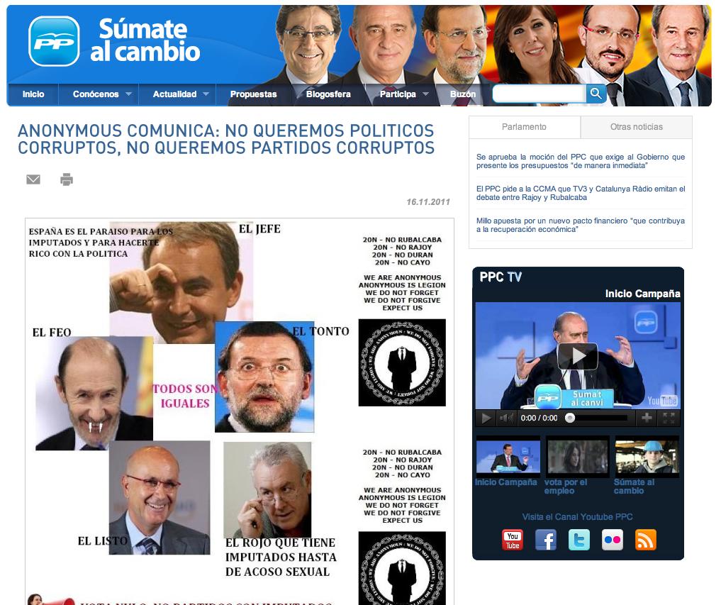 Ataque de Anonymous a la WEB del PP en 2011