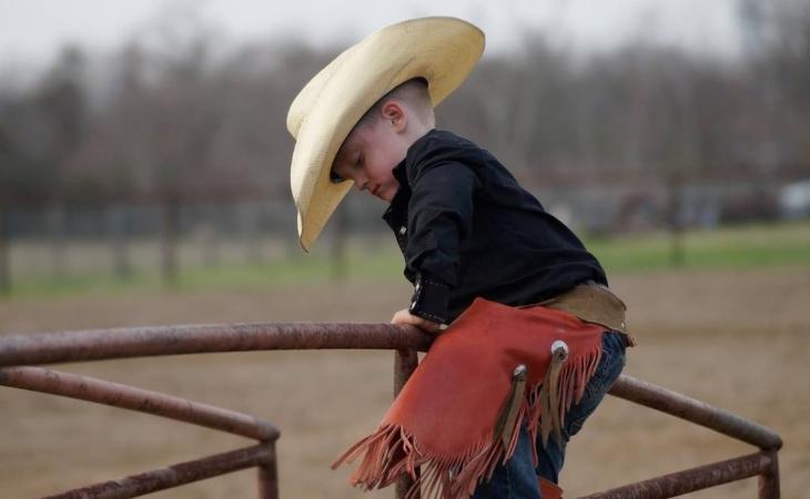 Young cowboy at the Pasadena Livestock Show & Rodeo in Pasadena, TX.